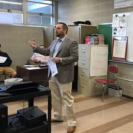 CB&T's Neal Stanfield gives a presentation on investments at Waco High.